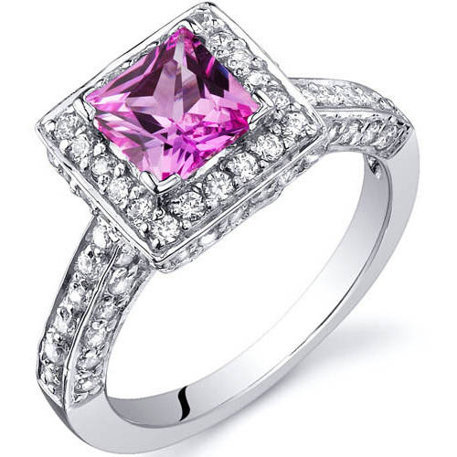 Oravo 1.00 Carat T.G.W. Princess-Cut Created Pink Sapphire Rhodium over Sterling Silver Engagement Ring by Oravo