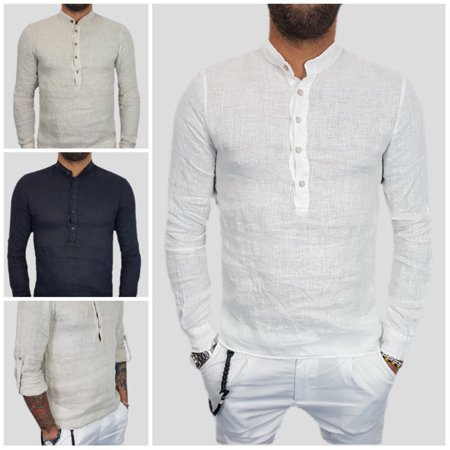 694028f96 Urkutoba - Hot Men's Linen Shirts V-neck Summer Casual Shirt Loose Plain  Basic Casual Tops - Walmart.com