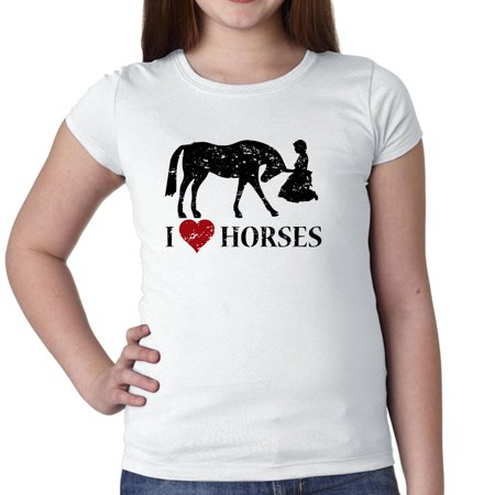 I Love Horses - Heart Horse And Kneeling Woman Girl
