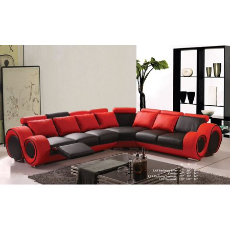 Modern Classic Contemporary Red And Black Bonded Leather Sectional Sofa Set  Reclining Loveseat Sofa Corner Living Room Couch