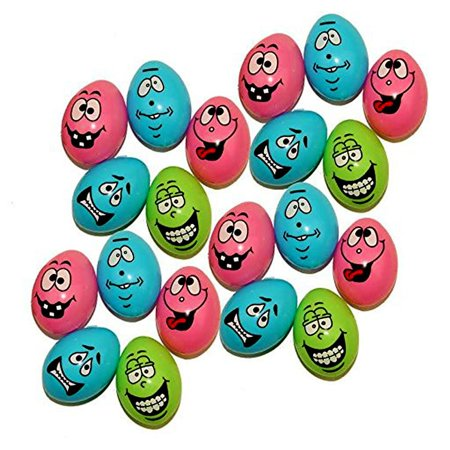 48 Easter Eggs With Funny Faces   Perfect For A Super Egg Hunt   48 Pieces per Pack   Dazzling Toys