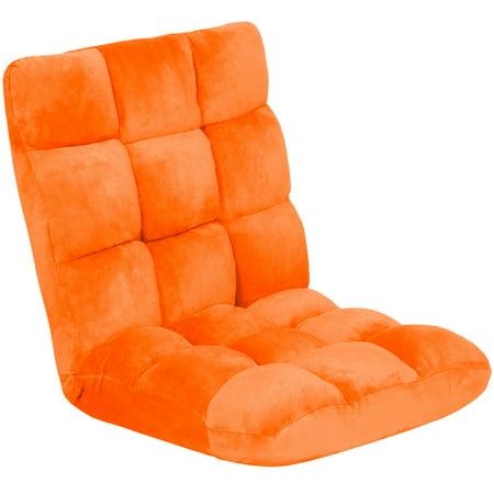 Position Memory (GHP Orange Flannel & Memory Foam Adjustable Positions Reclining Living Room Floor Chair )