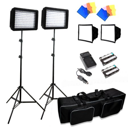 Spot Barndoor (Loadstone Studio 3x 216 Barndoor Continuous LED Video Lighting kit Dimmable Panel Camera, for Canon, Nikon, Sony and DSLR Cameras, Li-Ion Battery and Charger,Color Filters,Premium Carry Bag, WMLS2094 )