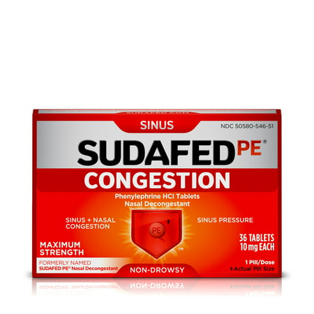 Sinus Tablet Vitamins - Sudafed PE Congestion and Sinus Relief, Maximum Strength, 36 Count