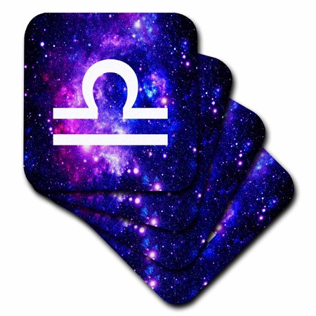 - 3dRose Libra star sign on purple space background - zodiac horoscope symbol, Soft Coasters, set of 4