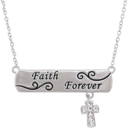 Simply Silver Swarovski Crystal Sterling Forever Faith Bar Necklace