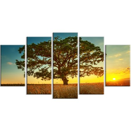 Design Art 'Big Green Tree in Summer Field' 5 Piece Photographic Print on Wrapped Canvas Set