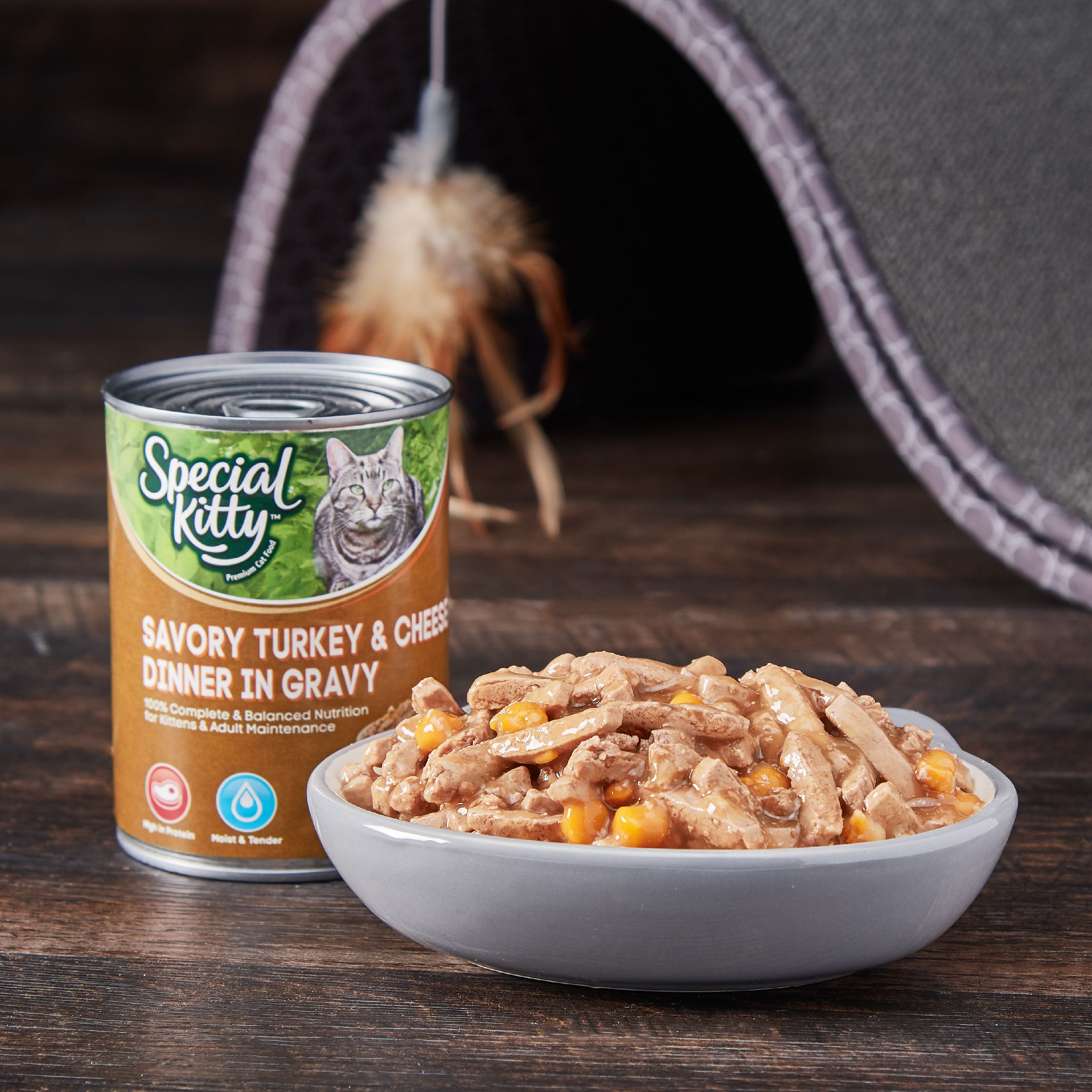 (12 Pack) Special Kitty Savory Turkey & Cheese Dinner In Gravy Wet Cat Food, 13 Oz