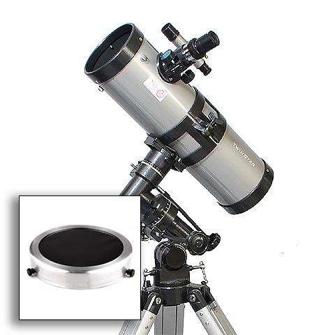 "Twinstar EclipseFINDER 4.5"" Reflector Solar Eclipse Telescope, Silver"
