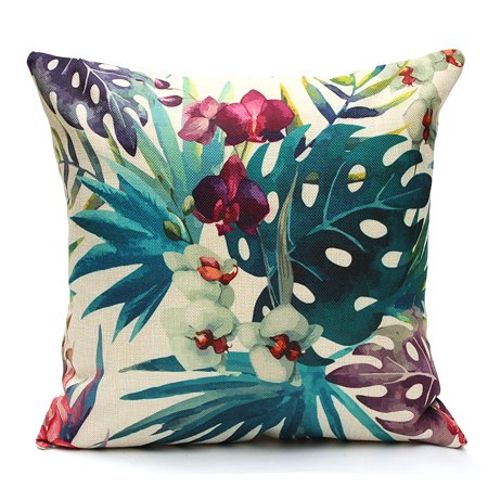 Meigar Decorative Throw Pillow Covers Clearance 18x18 inch Tropical Plant Linen Cotton Pillowcase Pillowslip Protector Car Sofa Cushion Home Decor ()