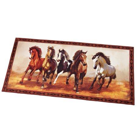Western Galloping Horse Rug 60 Quot X 29 5 Quot Brown Walmart Com