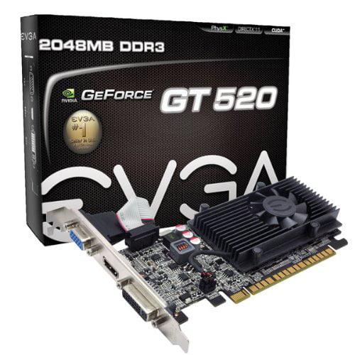 EVGA 02G P3 1529 KR GT 520 2GB DDR3 64bits - DVI/HDMI/VGA...
