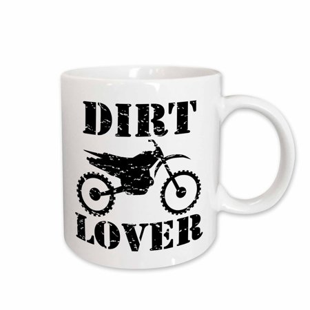 3dRose Distressed illustration of a Dirt Bike with dirt lover black text, Ceramic Mug, 11-ounce](Dirt Cups)