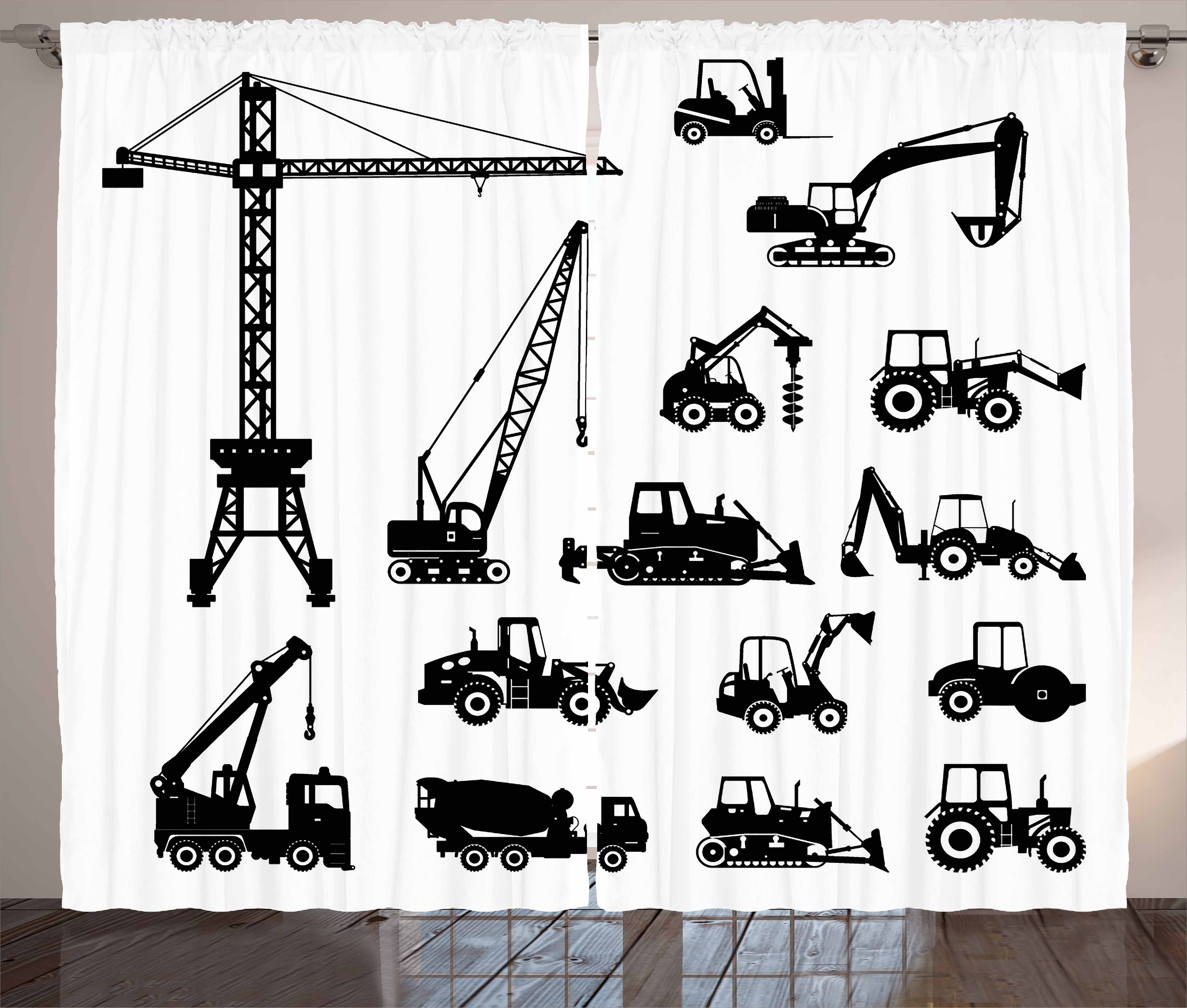 Click here to buy Construction Curtains 2 Panels Set, Black Silhouettes Concrete Mixer Machines Industrial Set Trucks Tractors, Window... by Kozmos.