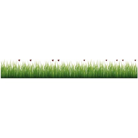 Jelly Bugs Border - Grass And Ladybugs Roll Stickers