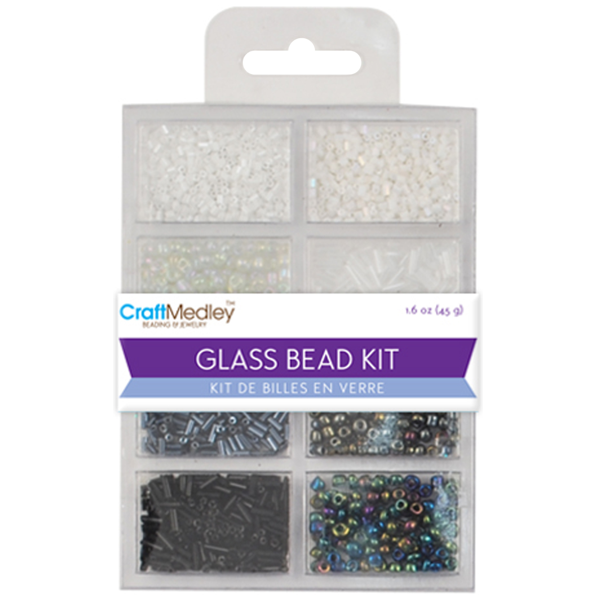 Multicraft Imports Glass Bead Kit, Black and White Classic, 45 gm Per Pack Multi-Colored