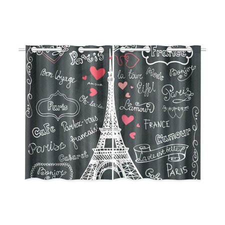 MKHERT France Paris Eiffel Tower Window Curtains Kitchen Curtain Room Bedroom Drapes Curtains 26x39 inch, 2 Piece