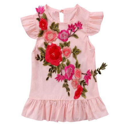 3915811990bf StylesILove - Baby Toddler Girls Ruffle Cap Sleeve 3D Floral Pink Mini Dress  (110/4-5 Years) - Walmart.com