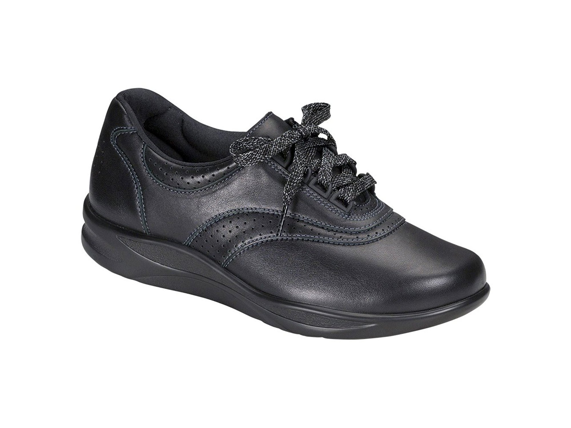 e1d19f68a8fc6 SAS Womens Walk Easy Low Top Lace Up Walking Shoes, Black, Size 8.5