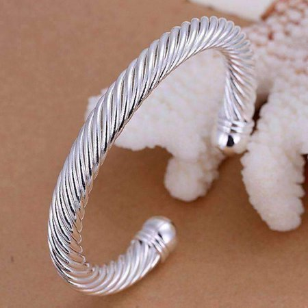 Ivory Cuff Bangle - CLEARANCE - Swirling Silver Bold Bangle Cuff Bracelet Silver