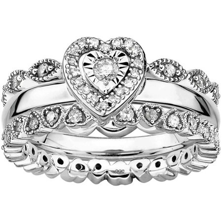 Sterling Silver Girl's Best Friend Diamond Ring