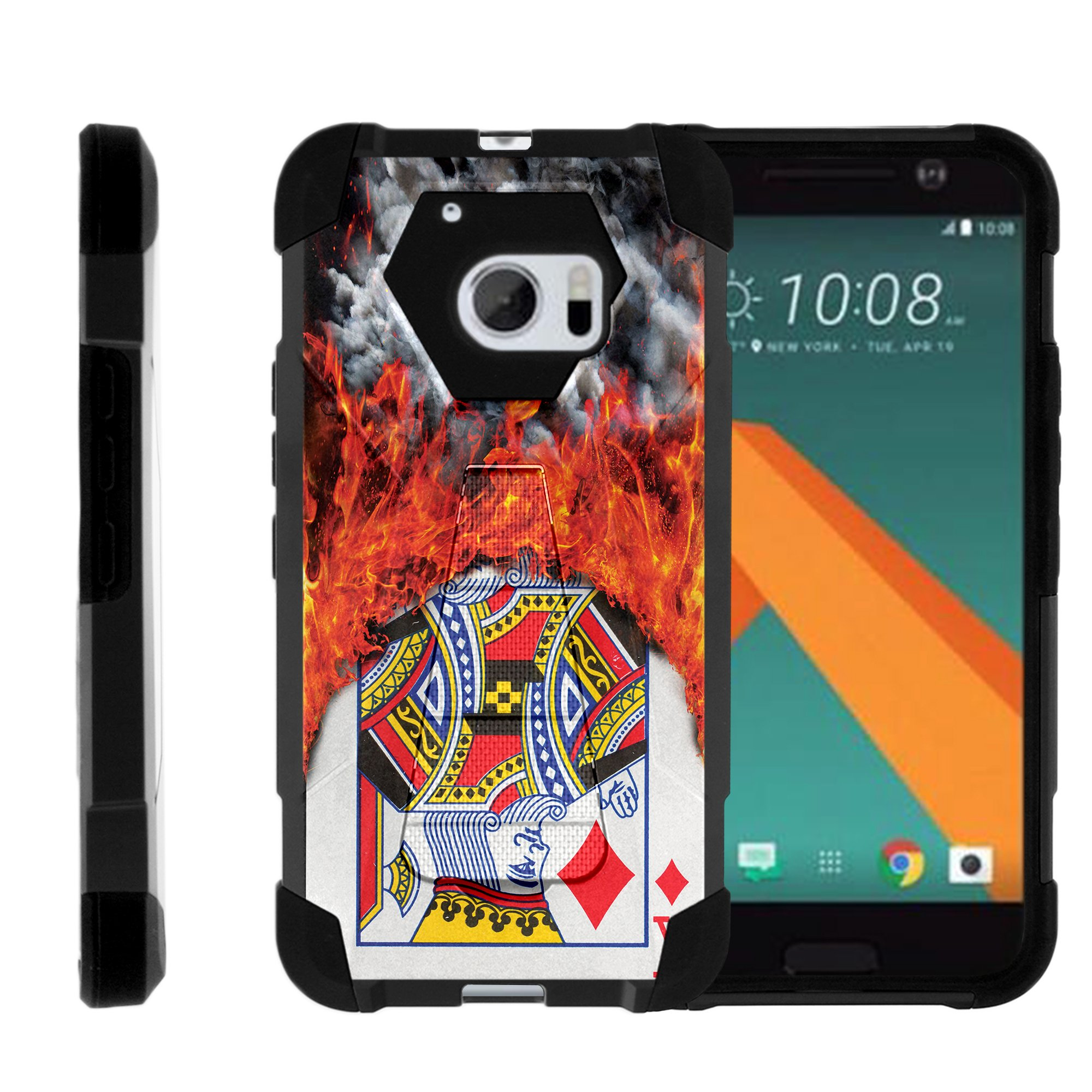 TurtleArmor ® | For HTC 10 | HTC One M10 | HTC 10 Lifestyle [Dynamic Shell] Dual Layer Hybrid Silicone Hard Shell Kickstand Case - Burning Card