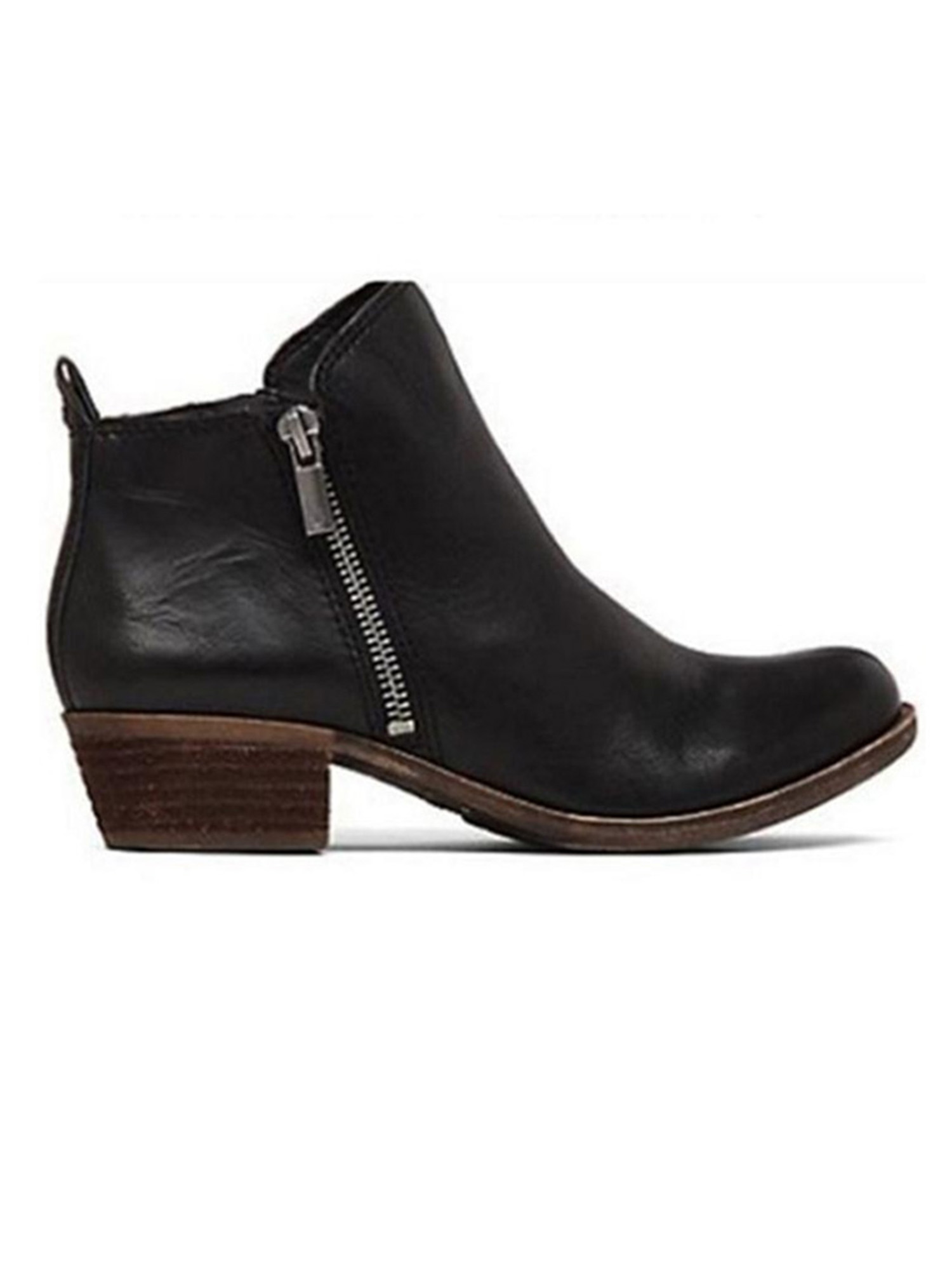 Women Mid Kitten Heel Ankle Boots Ladies Pointy Toe Zipper Booties Chelsea Shoes