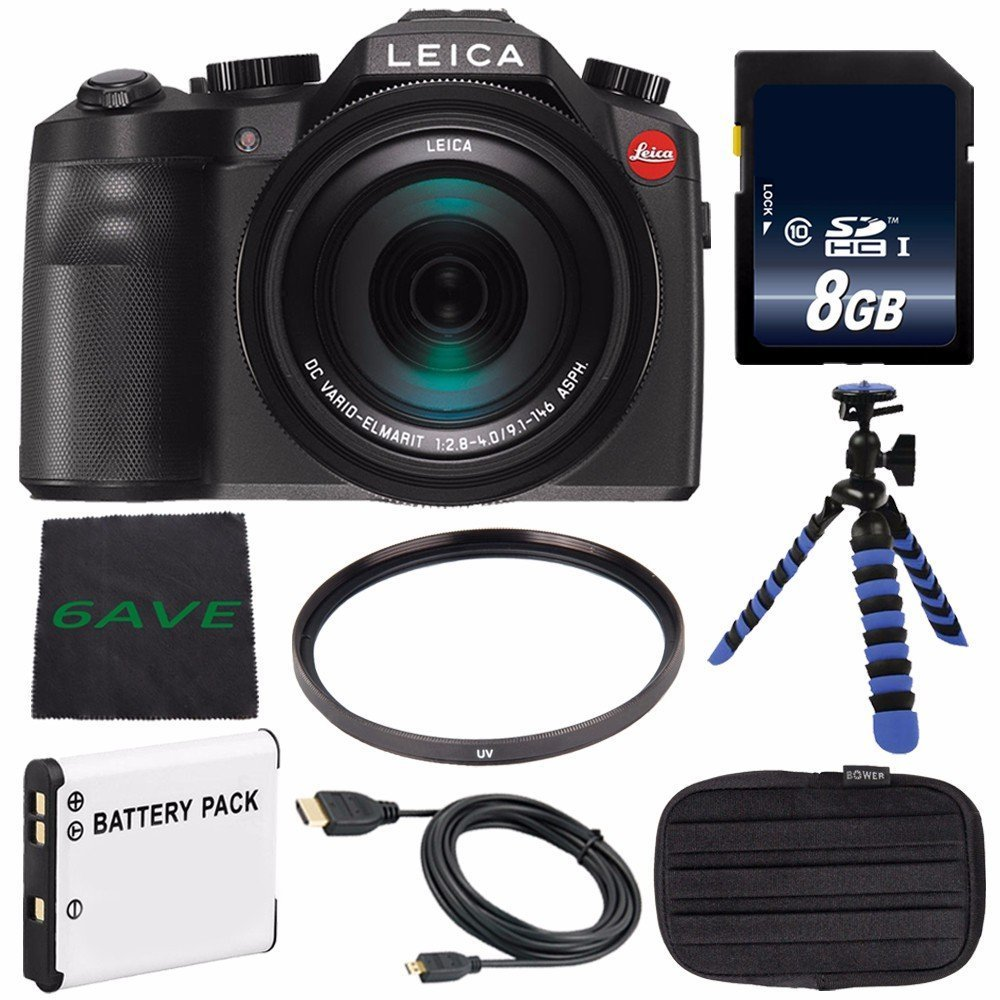 Leica V-LUX (Typ 114) Digital Camera (International Model no Warranty) + Replacement Lithium Ion Battery + Flexible Tripod with Gripping Rubber Legs + Mini HDMI Cable Bundle 5