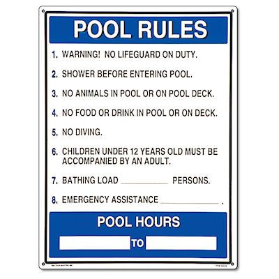 Poolmaster 40326 General Commercial Pool Rules Sign For Residential Or Commercial Pools Multi