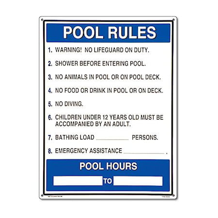 Poolmaster general pool rules sign for residential or - Residential swimming pool regulations ...