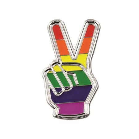 Gay Pride Peace Sign Finger LGBT Enamel Lapel Pin ()