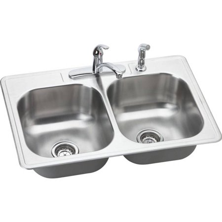 Elkay DSE233224DF Dayton Elite Stainless Steel Double Bowl Top Mount Sink and Faucet Kit with 4 Faucet Holes, Elite Satin