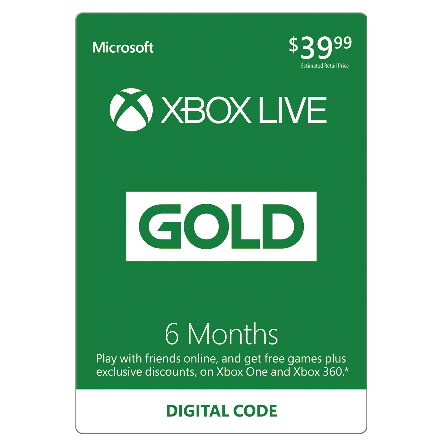 Microsoft Xbox Live 6 Month Gold Membership (Email Delivery)