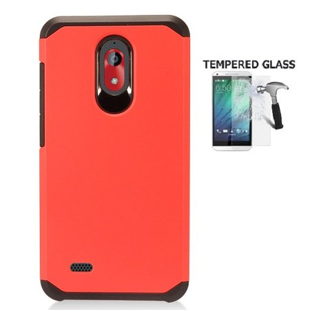 Coolpad Illumina Case, Phone Case for Boost Mobile Coolpad Illumina 8GB Prepaid Smartphone, Hybrid Shockproof Slim Hard Cover Protective Case  + Tempered Glass Screen Protector (Red)