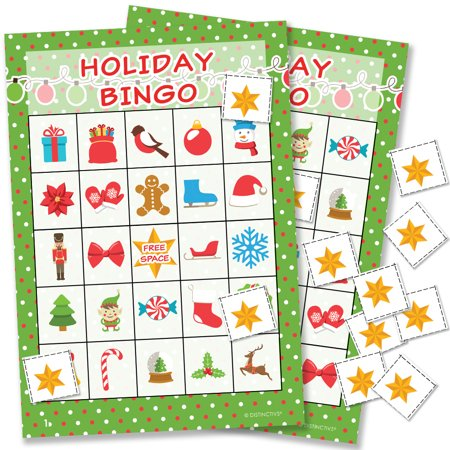 Halloween Party Games Bingo (Holiday Christmas Bingo Game, 24 Players - Kids Christmas Party Game Teachers Classroom Supplies - 24 Bingo Cards with)