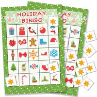 Holiday Christmas Bingo Game, 24 Players - Kids Christmas Party Game Teachers Classroom Supplies - 24 Bingo Cards with Chips