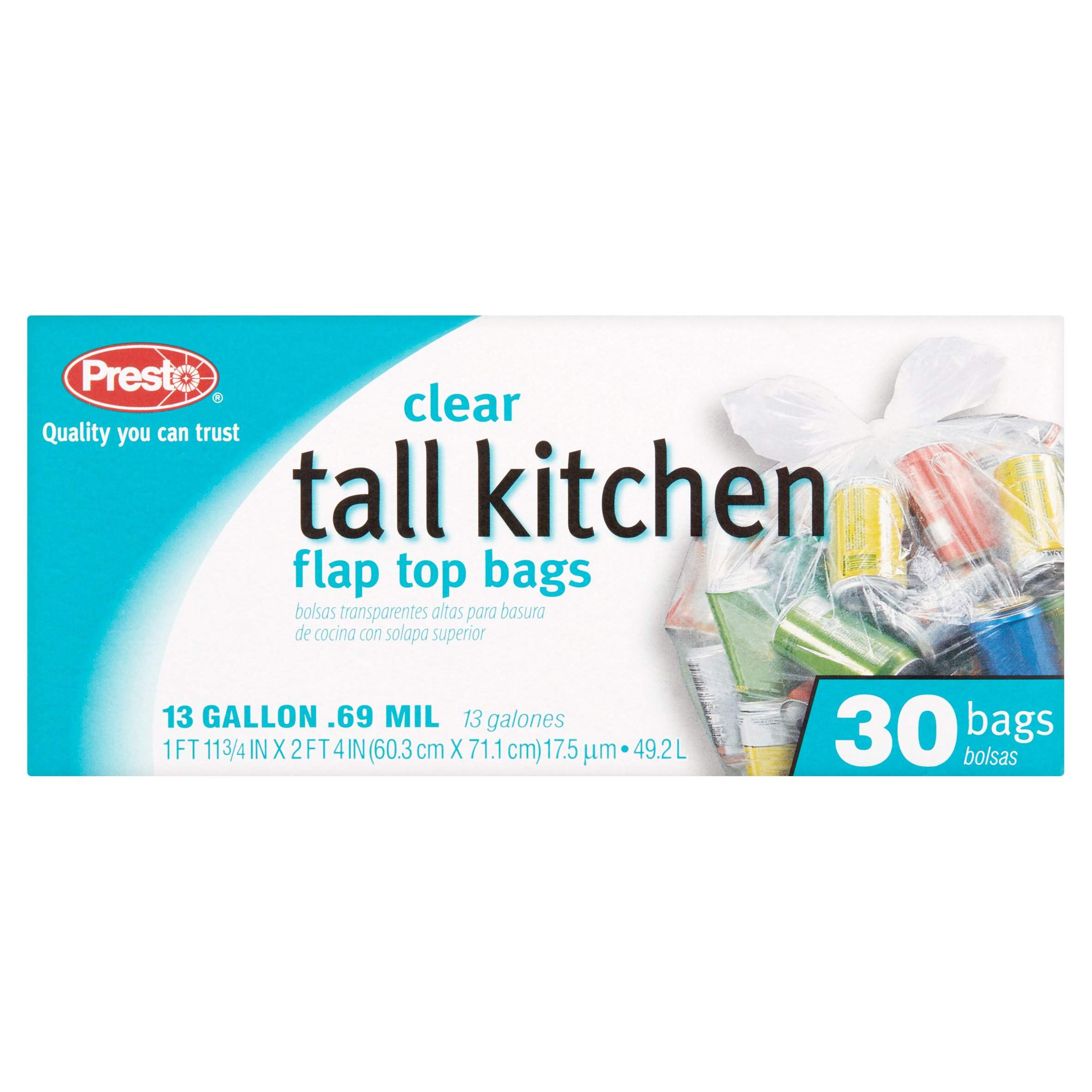 Presto 13 Gallon Clear Tall Kitchen Flap Top Bags, 30 count