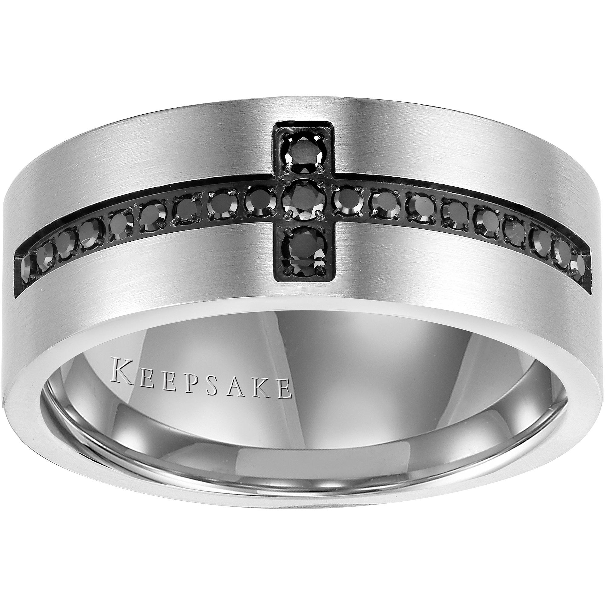 Keepsake Men's Rebel 1/4 Carat T.W. Black Diamond Stainless Steel Band