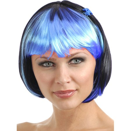 2 Tone Wig (Women's 2-Tone Black and Blue Costume Bob Wig With Bangs )