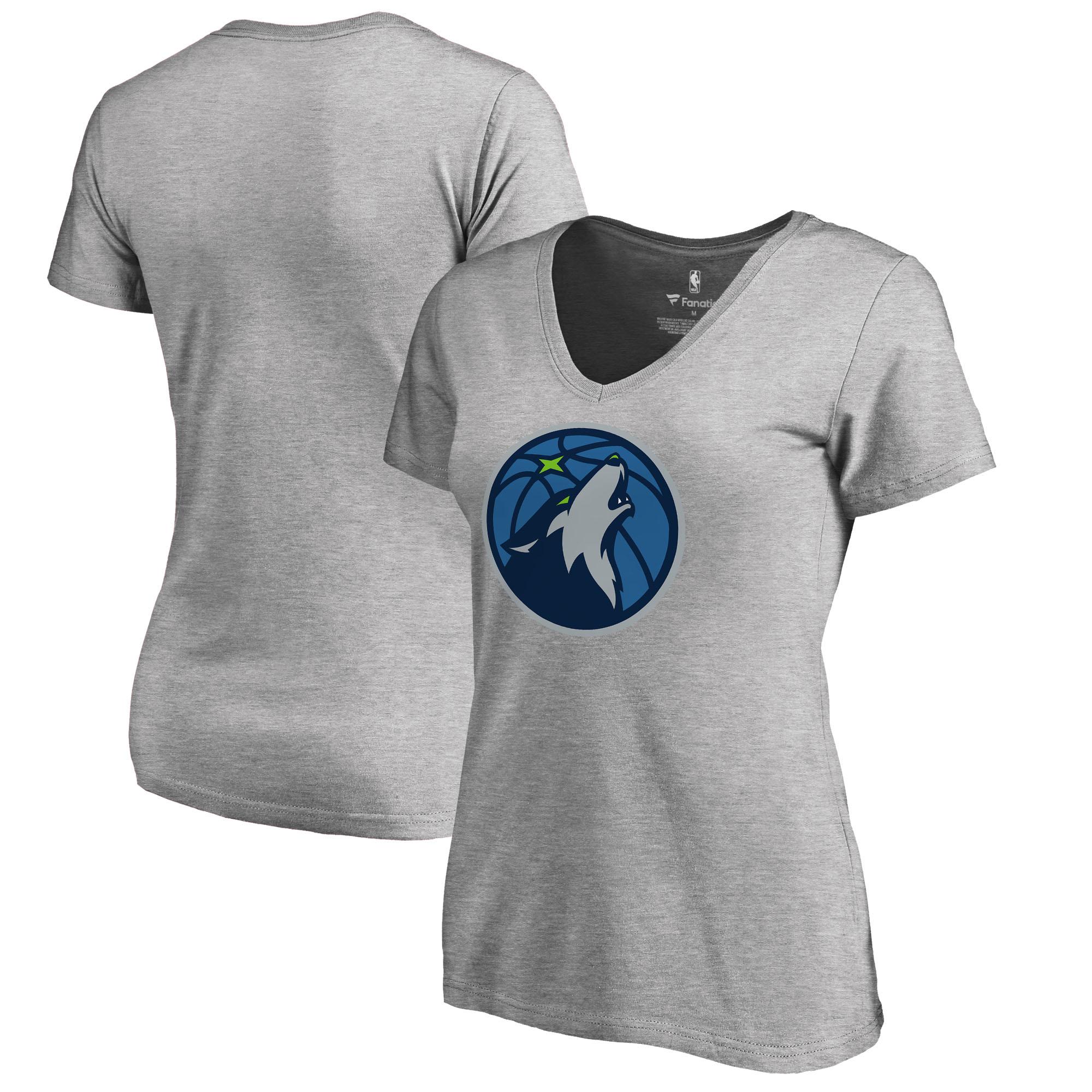 Minnesota Timberwolves Fanatics Branded Women's Primary Logo V-Neck T-Shirt - Ash