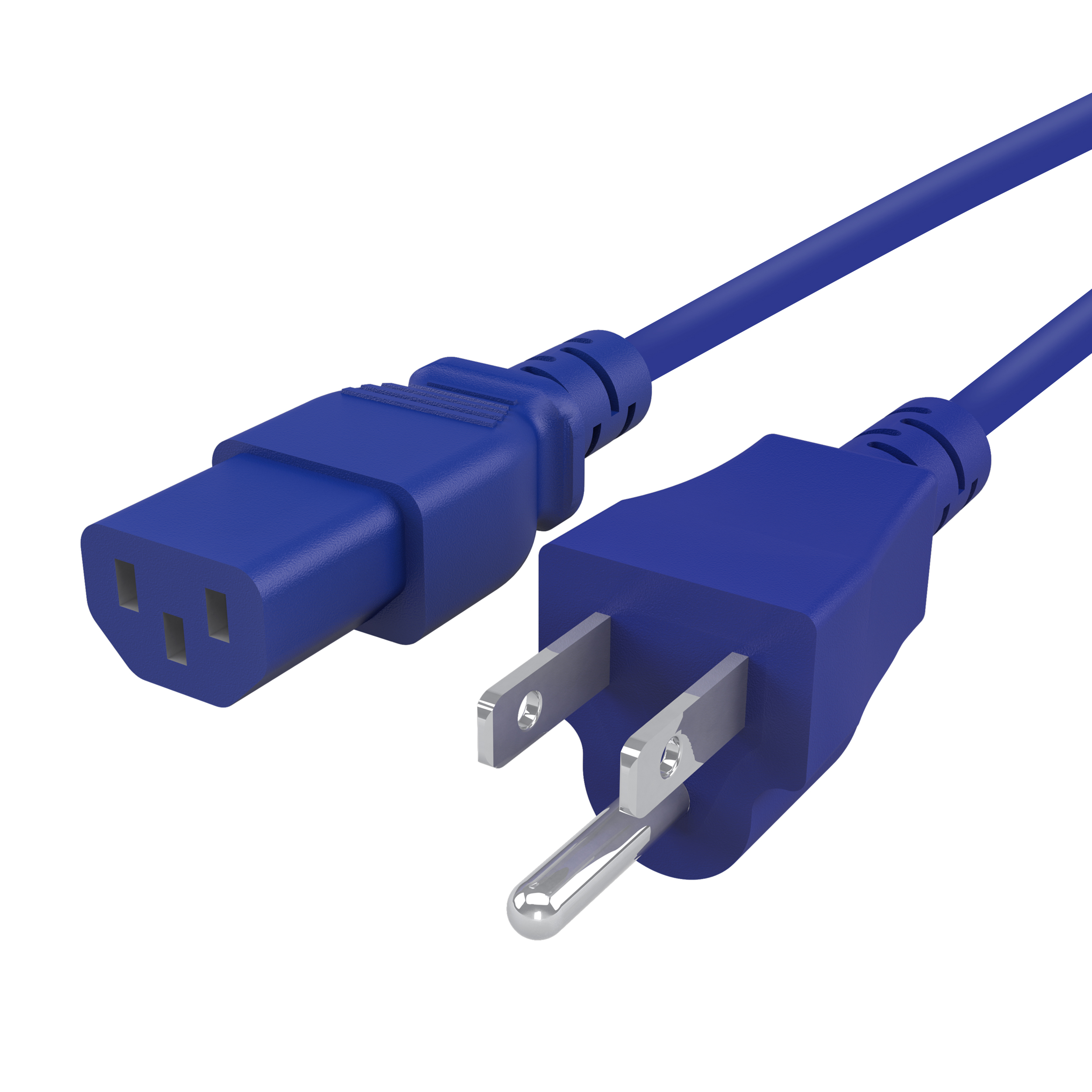 GearIt 18 AWG Universal Power Cord NEMA 5-15P to IEC320 C13 [UL Listed], Blue (1 Foot/0.3 Meters)