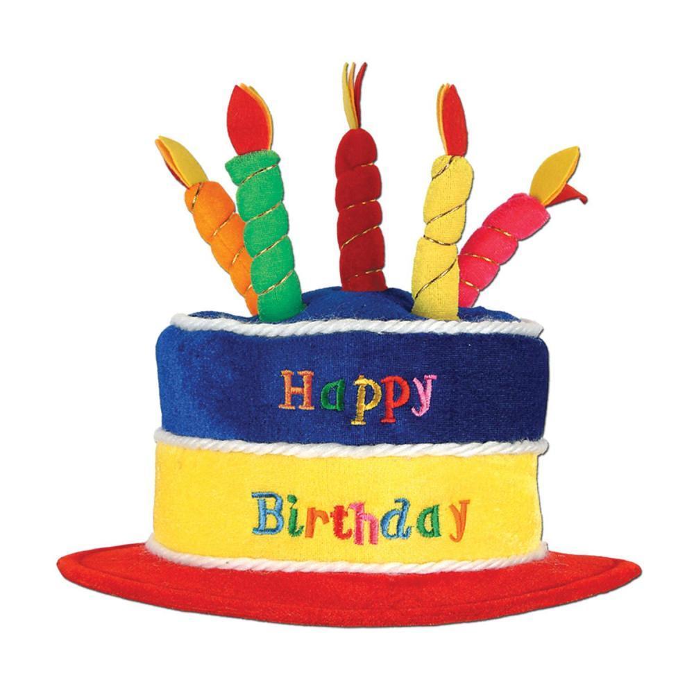 (Pack of 12) Birthday Party Plush Happy Birthday Cake Hat