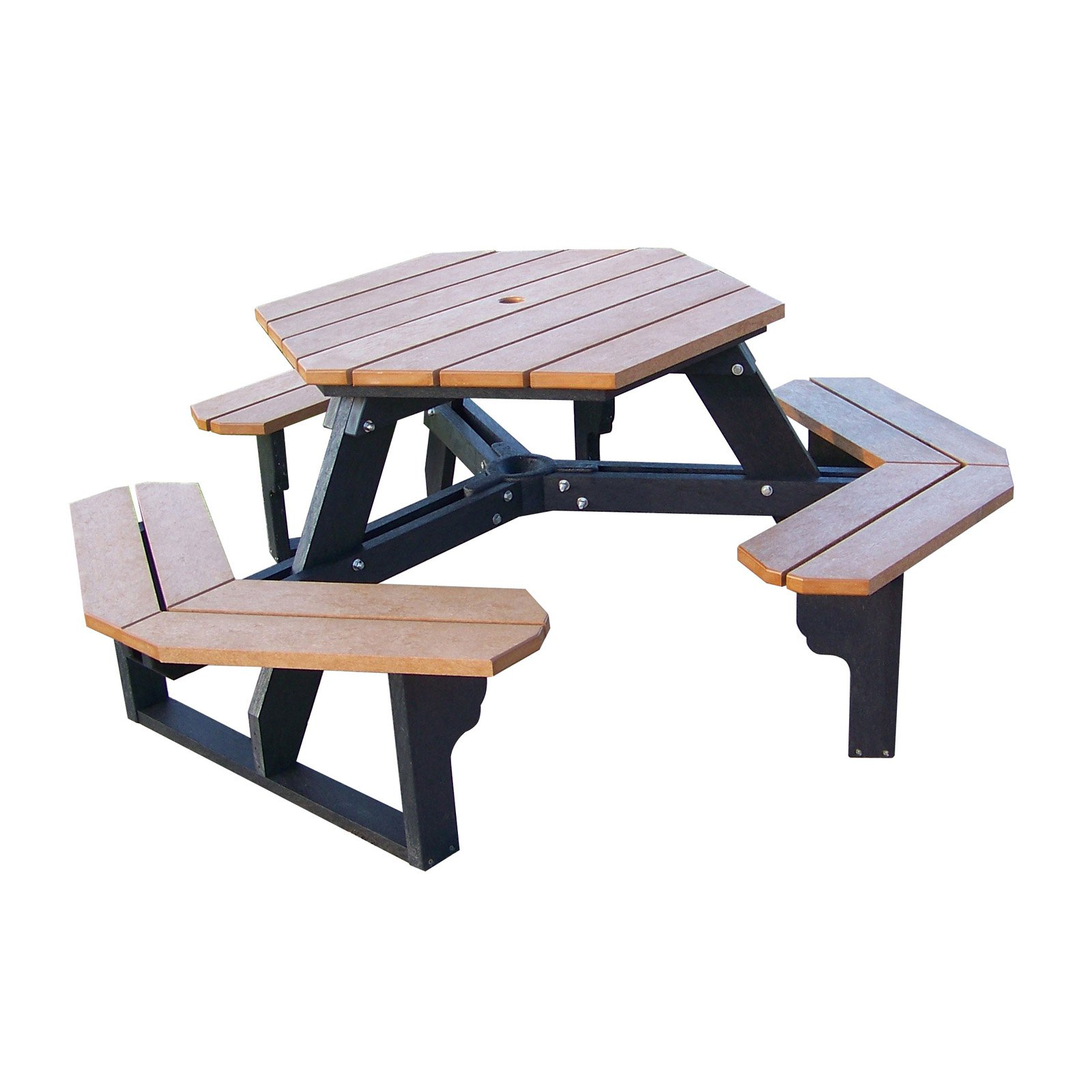 Polly Products Econo-Mizer Hexagon Recycled Plastic Picnic Table