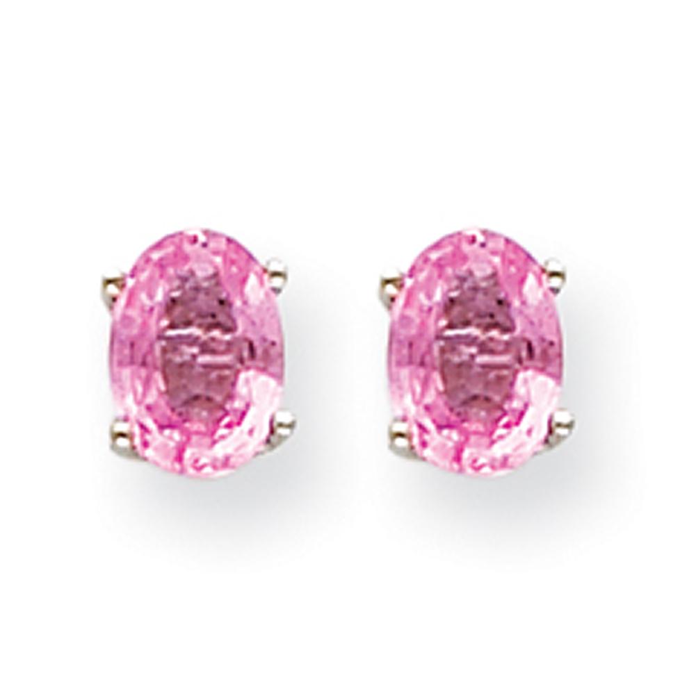 14k White Gold Pink Sapphire Earrings XE87WSP-B by