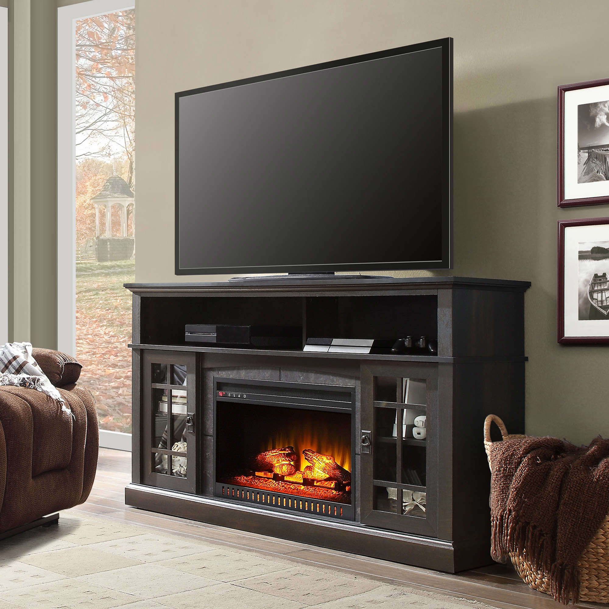 Whalen Media Fireplace Console For Tvs Up To 70 Espresso Finish