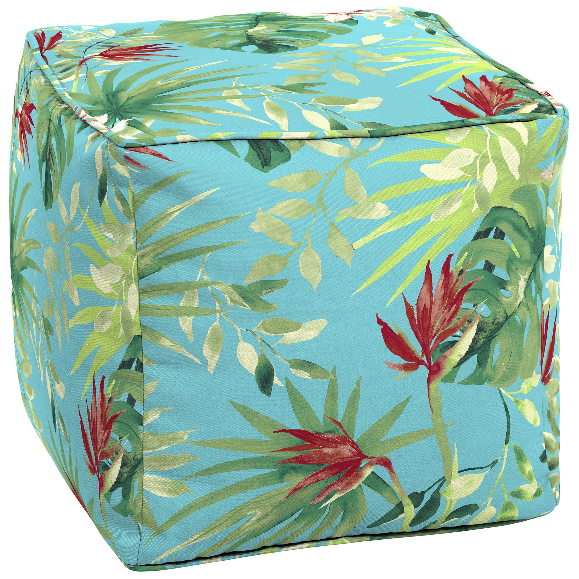 """Better Homes & Gardens Teal Aruba Palm Outdoor 17"""" Square Pouf"""
