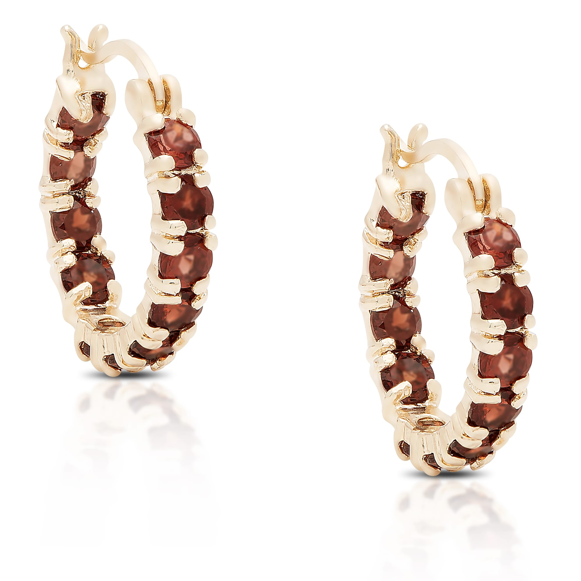 Dolce Giavonna  Gold over Silver or Sterling Silver Garnet Hoop Earrings