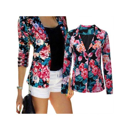 Fashion Womens Ladies Floral Stylish Casual Slim Suit Jacket Blazer Tops Outwear