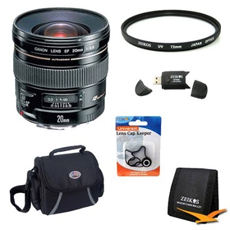 Canon EF 20mm f/2.8 USM Wide Angle Lens for Canon SLR Cameras w/ 72mm Multicoated UV Protective Filter, Deluxe Bag, Lens Cap Keeper, Memory Card Wallet, USB 2.0 Card
