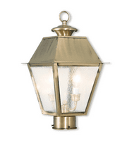 Outdoor Post 2 Light With Hand Crafted Solid Brass Seeded Antique Brass size 17 in 120 Watts - World of Crystal
